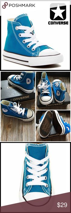 CONVERSE SNEAKERS Classic Hi-Tops CONVERSE SNEAKERS  Classic Hi-Top * NEW WITH BOX * COLOR: Cyan Space Blue, White ABOUT THIS ITEM * Round toe * Lace-up closure * Stripe outsole accent * Classic Hi-top style  MATERIAL Textile upper &'rubber sole  ❌NO TRADES❌ ✅BUNDLE DISCOUNTS✅ OFFERS CONSIDERED (Via the offer button only)  Item# SEARCH WORDS # baby toddler Infant Converse Shoes Sneakers