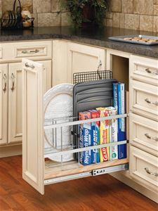 Rev-A-Shelf, 448-BC-8C, Wood 8 inch Wide 4-Tier Pull-Out Shelf