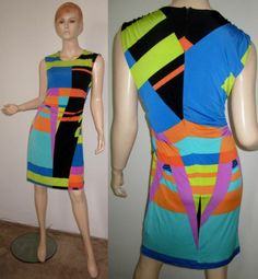 VTG 80s SCARLETT Multi Color Geometric Print Stretchy Draped Faux Wrap Dress 8