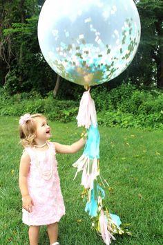 Pink, Aqua and Metallic Gold Jumbo Confetti Balloon with Tassels - One Stylish Party