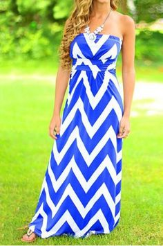 a270854c5b Stylish Strapless Sleeveless Striped Women s Maxi Dress Niebieskie  Paznokcie