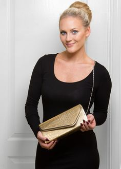 Croc Embossed Clutch - Soft Gold