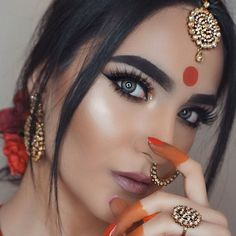 IG A M T U L ☽ (@makeupbyamtul)  Bollywood. Makeup. Bindi. Tikka. Earrings. Indian jewelry. Pakistani. Indian makeup. Pakistani bridal. Indian bride. Mehndi. Henna. Tattoo. Anastasia Beverly Hills. Gleam glow kit. Contour. Highlight. DipBrow Pomade. Mac verve lipstick. Mac cosmetics. Too faced. Master palette. Makeup by Mario. Rose. Bollywood makeup. Shahrukh khan. Aishwarya rai. Devdas. Huda beauty. Sasha Lashes. Lashes. Eyeliner. Grey eyes. Eyes. Eye makeup. Liner. Glow.
