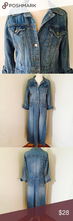 """BDG long denim jacket """"Vintage"""" denim duster from mid 90's in true blue. Pre-loved and in great condition, it features multiple pockets (2 on back), back slit and silver toned buttons. Sleeves run a bit shorter, so I usually rolled them a bit. Size L but fits more like an M. BDG Jackets & Coats Jean Jackets"""