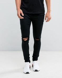 Sixth June Super Skinny Jeans In Black With Knee Rips