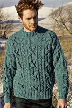 "Fergus Pullover Kit - priced from $187.50 to $311.45. ""With drop shoulder and turtle neck, this knitting pattern is for the experienced knitter."""