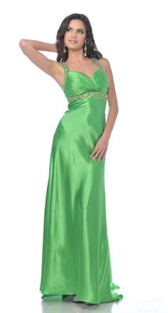 Green Satin Pleated Bodice Rhinestone Straps Long Formal Dress
