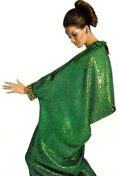 Verushcka wearing a caftan dress, 1970s.