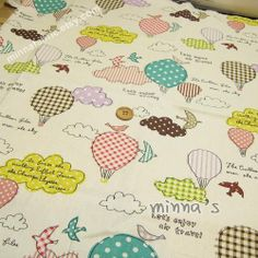Linen Cotton Blended Fabric - Let's Enjoy Air Travel (lightseagreen)  - Fat Quarter(21in x 19in) - LF249