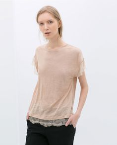 ZARA-CAMISETA LINO ROMANTIC LACE