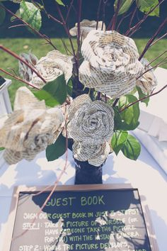 Or pages from your favorite love story. | 21 Beautiful Non-Traditional Ways To Do Wedding Flowers