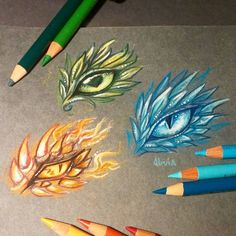 Ice, forest or fire? Fantasy Drawings, Pencil Art Drawings, Cool Drawings, Art Sketches, Dragon Eye Drawing, Dragon Sketch, Dragon Drawings, Fantasy Dragon, Fantasy Art