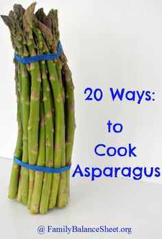 20 Ways to Cook Asparagus - There are many reasons to love spring and the fact that asparagus is in season is one of them. It is the best time of year to buy & eat asparagus. by dawn Ways To Cook Asparagus, Asparagus Recipe, Baked Asparagus, Fresh Asparagus, Side Dish Recipes, Vegetable Recipes, Cooking Recipes, Healthy Recipes, Milk Recipes