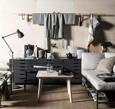 The IKEA EKEBOL double-duty sofa looking its best in this styling job by Swedish stylist Pella Hedeby. The soft flax-coloured linens, plywo...