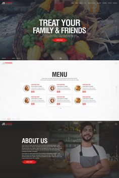 """""""JB Foodas Restaurant"""" is a modern and unique PSD template designed for professionals. It can be use in many industries like Restaurants, Fast Food, Hotel, Landing Page Design, Website Design Inspiration, Illustration Girl, Photoshop Photography, App Design, Design Ideas, Psd Templates, Wordpress Theme, Amazing Photography"""