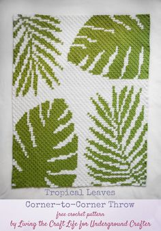 Free #crochet pattern: Tropical Leaves Corner-to-Corner Throw by Living The Craft Life for Underground Crafter | This stunning, modern C2C throw pattern includes charted instructions, tips for preparing #yarn bobbins, and links to video tutorials for C2C colorwork help! #undergroundcrafter #livingthecraftlife #cornertocornercrochet