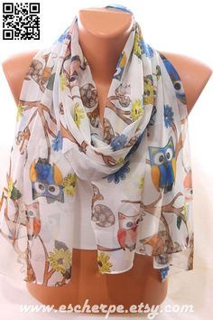 Owl Squirrel Flower Print Spring Summer Trending Scarf by escherpe