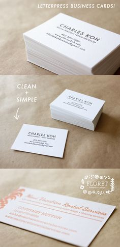 floret letterpress business cards- love how clean and simple this looks