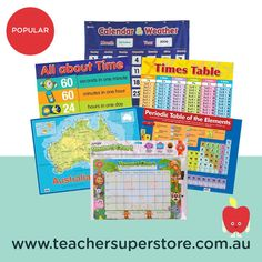 POPULAR: Posters, Charts & Mats  Use our range of posters, charts and mats to create a point of reference for children at home or in the classroom. Covering a range of learning areas and topics, with clear details and visuals to improve understanding of concepts. 11 Times Table, Periodic Table Of The Elements, Teaching Aids, Charts, Range, Classroom, Teacher, Posters, Concept
