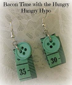 Bacon Time With The Hungry Hypo: Tutorial Tape Measure Earrings and Giveaway Ann. - Bacon Time With The Hungry Hypo: Tutorial Tape Measure Earrings and Giveaway Announcment - Sea Glass Jewelry, Wire Jewelry, Jewelry Crafts, Jewelry Art, Beaded Jewelry, Jewelery, Gold Jewellery, Jewelry Rings, Button Earrings