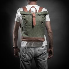 Canvas and leather backpack with military vintage by KrukGarage