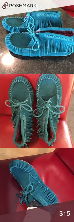 Mossimo Aqua Moccasins. Very cute and comfy Suede Mossimo slipper/Moccasins. Beautiful color with cute braid design and fringe. Slightly worn, overall great condition - pretty lining. Mossimo Supply Co Shoes Moccasins