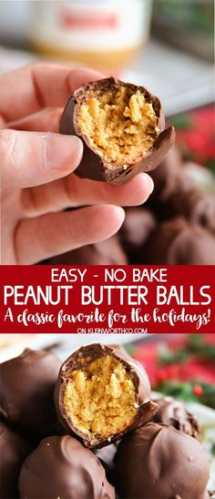 Easy No-Bake Peanut Butter Balls are easy to make treats that are great for the holidays. Perfect for Christmas parties & neighbor gifts- you'll love them! AD #peanutbutter #chocolate #peanutbutterballs #holiday #dessert #treat #foodgifts #christmas