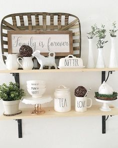 Love the tobacco basket, sign, cow and of course the RAE DUNN! See this Instagra… - Home Professional Decoration Home Decor Baskets, Basket Decoration, Country Decor, Farmhouse Decor, Farmhouse Style, City Farmhouse, Farmhouse Ideas, Tobacco Basket Decor, Cow Kitchen Decor