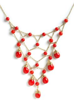I could definitely make this. Bollywood Starlet Necklace by Mata Traders - Red, Gold, Solid, Tiered, Beads