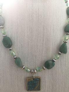 Green Aventurine Necklace-Green Gemstone by GloriaAllenDesigns