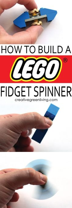 How to make a cool DIY LEGO fidget spinner! This is the perfect homemade toy - you can customize it to be any color you would like without having to worry about lead (a guaranteed LEAD FREE fidget spinner!). Fidget Spinner Lego, Origami Fidget Spinner, Cool Fidget Spinners, Lego Instructions, Lego Fidget Spinner Instructions, Cool Lego, Lego For Kids, Fun Crafts For Kids, Lego Creations