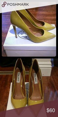 "Yellow Patent Stilettos Worn once. Proto earth tone yellow Steve Madden stilettos. 4"" heels. Steven by Steve Madden Shoes Heels"