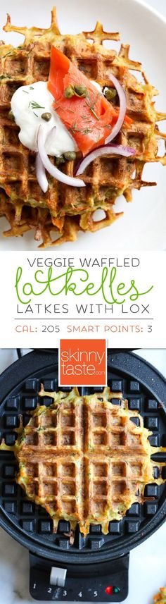 These veggie-packed latkes, are not your traditional latkes, they're made with shredded potatoes and a mix of carrots, zucchini and bell pepper, PLUS they're cooked in a waffle iron so there's no need to fry! What to serve with latkes is completely up to you, my favorite is with sour cream, lox, capers and red onion, or simply with apple sauce on the side. #latkes #hanukkah