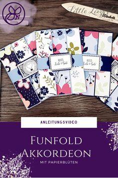 Anleitung mit Video zu dieser tollen Falttechnik Paper Trimmer, Fun Fold Cards, 3d Paper, Videos, Blog, Up, Crafts, Book Folding, Postage Stamps