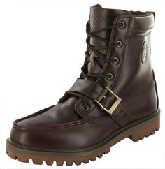 """BEVERLY HILLS POLO CLUB Federal Rugged Mens Boots Brown Size 10.5The Federal boot from Beverly Hills Polo Club is a serious boot.  Features composition of all man-made materials, military combat boot inspired style with a moc toe, lace front closure, padding at ankle, front strap and bronze buckle detail, slight heel and treaded rubber sole.  Also features Beverly Hills Polo Club logo embossed on side. Shaft measures 7"""" from heel. Style: BMF145-2..."""