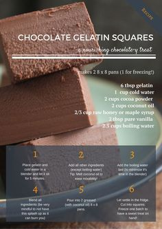 """chocolate gelatin squares """"healthy"""" dessert. [made it] weird texture, tastes good, hubby didn't care for it"""