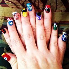 Avengers Nail Art!  Iron Man, black widow, Captian america, spiderman, wolverine. fantastic four, hawkeye, scarlet witch, hulk, thor.  Marvel - ous!