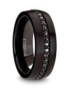Black Tungsten with Black Sapphires Wedding Band | Thorsten | http://trib.al/cscP8Sp