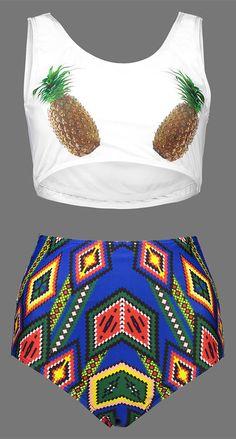 High Waist Pineapple Print Plus Size Bikini