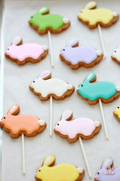 Who doesn't love a visit from the Easter bunny! Everyone will be happy to see these lovely bunny cookies show up on Easter morning. Easter Candy, Hoppy Easter, Easter Treats, Cookie Pops, Cute Cookies, Easter Cookies, Valentine Cookies, Cookies Et Biscuits, Sugar Cookies