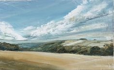 Jane Skingley, Rolling Downs, oil on board, 20x32cm, £300 Small Paintings, Landscapes, Oil, Board, Water, Outdoor, Paisajes, Gripe Water, Outdoors