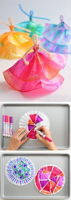 How to Make Coffee Filter Dancers How to Make Coffee Filter Dancers,Kids Crafts A safe place to play and learn. As educators we know children learn best through a play based approach. Fun Crafts For Kids, Summer Crafts, Toddler Crafts, Crafts To Do, Diy For Kids, Wood Crafts, Children Crafts, Kids Craft Projects, Family Crafts