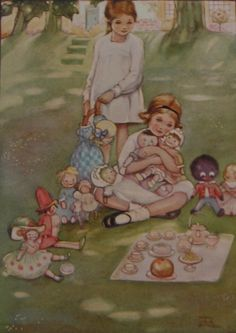 At the Garden Tea Party by Mabel Lucie Attwell www.beeswingprints.com