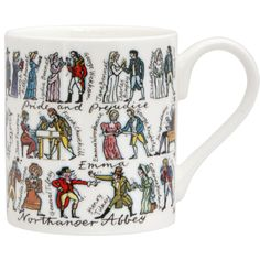 """Jane Austen character mug from The Literary Gift Company. """"Jane Austen's characters are humorously depicted on this mug. Lydia Bennet is chatting up Wickham as Jane and Elizabeth get married, Catherine Morland has dropped her novel and Mr. Woodhouse is enjoying a cup of tea in his chair."""" There's also a Dickens mug:  http://www.theliterarygiftcompany.com/charles-dickens-mug-15807-p.asp"""