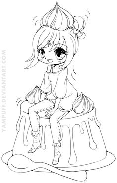 Anime Coloring Food - Anime Coloring Food , Yampuff Food Chibi Girls Coloring Pages Sketch Coloring Page Chibi Coloring Pages, Cute Coloring Pages, Free Coloring, Adult Coloring Pages, Coloring Books, Diy Y Manualidades, Chibi Girl, Colorful Drawings, Copics