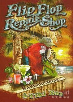 Jimmy Buffett Poster featuring the photograph Jimmy Buffett's Flip Flop Repair Shop by Desiderata Gallery