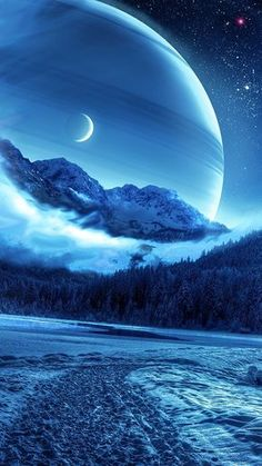 winter, night, mountains, road, planet,  fantastic landscape