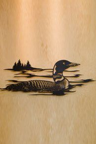 I LOVE THIS ONE!!! Loon on a lake with trees in the distance.