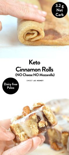 This easy keto cinnamon rolls recipe with almond flour is also dairy-free, paleo and gluten free. If you are missing a fluffy and soft cinnamon rolls Dessert Simple, Keto Dessert Easy, Dessert Recipes, Dairy Free Keto Recipes, Ketogenic Recipes, Baking Recipes, Keto Desert Recipes, Quick Recipes, Sweet Recipes