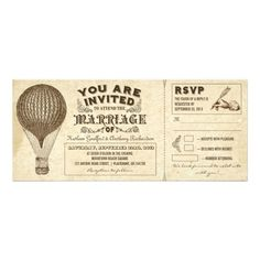 "air balloon vintage typography wedding invitations unique wedding invitations - tickets with aged hot air balloon drawing and vintage typography design. I suggest the ""linen"" or ""felt"" paper for this design. Typography Wedding Invitations, Vintage Wedding Invitations, Custom Invitations, Invites, Wedding Vintage, Ticket Invitation, Wedding Stationary, Invitation Ideas, Invitation Cards"